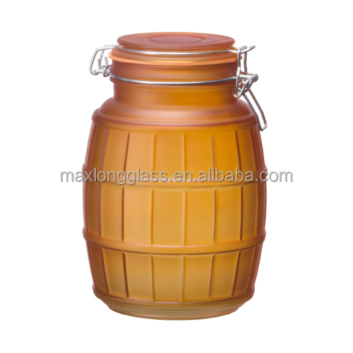 <strong>Oak</strong> <strong>barrel</strong> Shape Amber color glass storage jar with clip lid