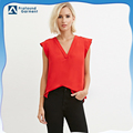 fashion armless deep v neck blouse for women