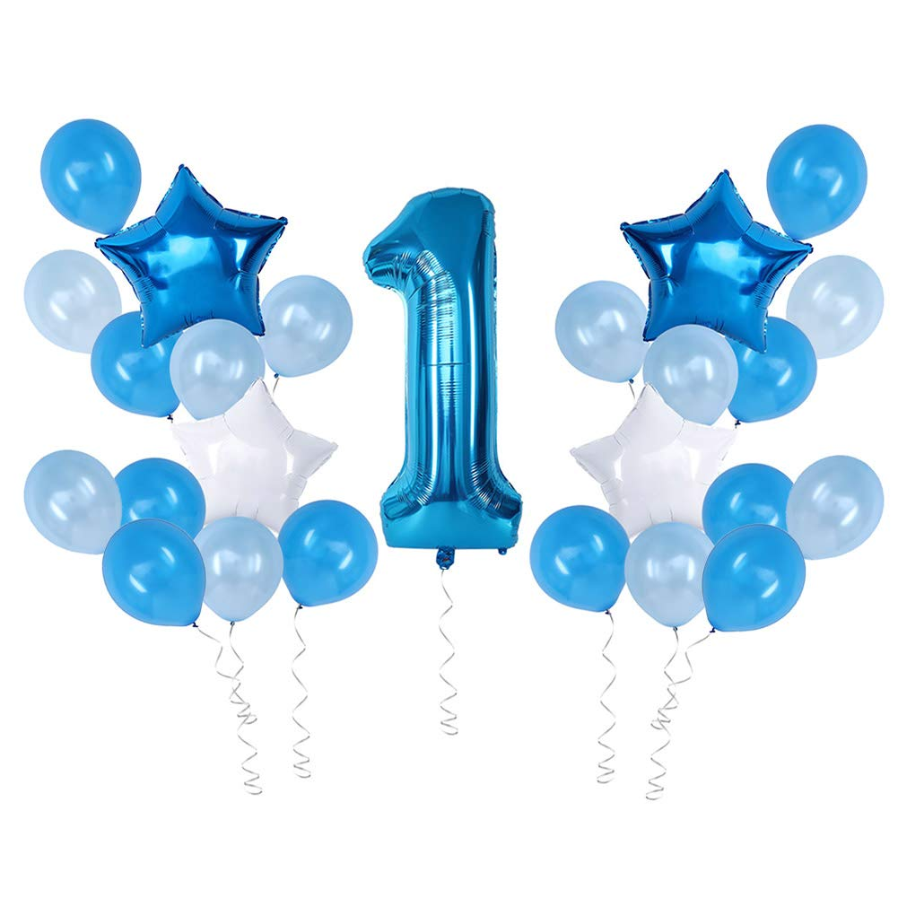 First Birthday Decorations For Boy 1st Baby Number Blue Foil Balloon,Happy Birthday Party Star Foil Balloon