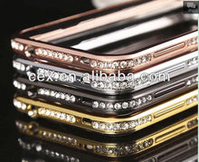 High Quality New Arrival Luxury Aluminum Metal Bumper Frame with Diamond Rhinestone Glitter Case For Samsung Galaxy S5 i9600