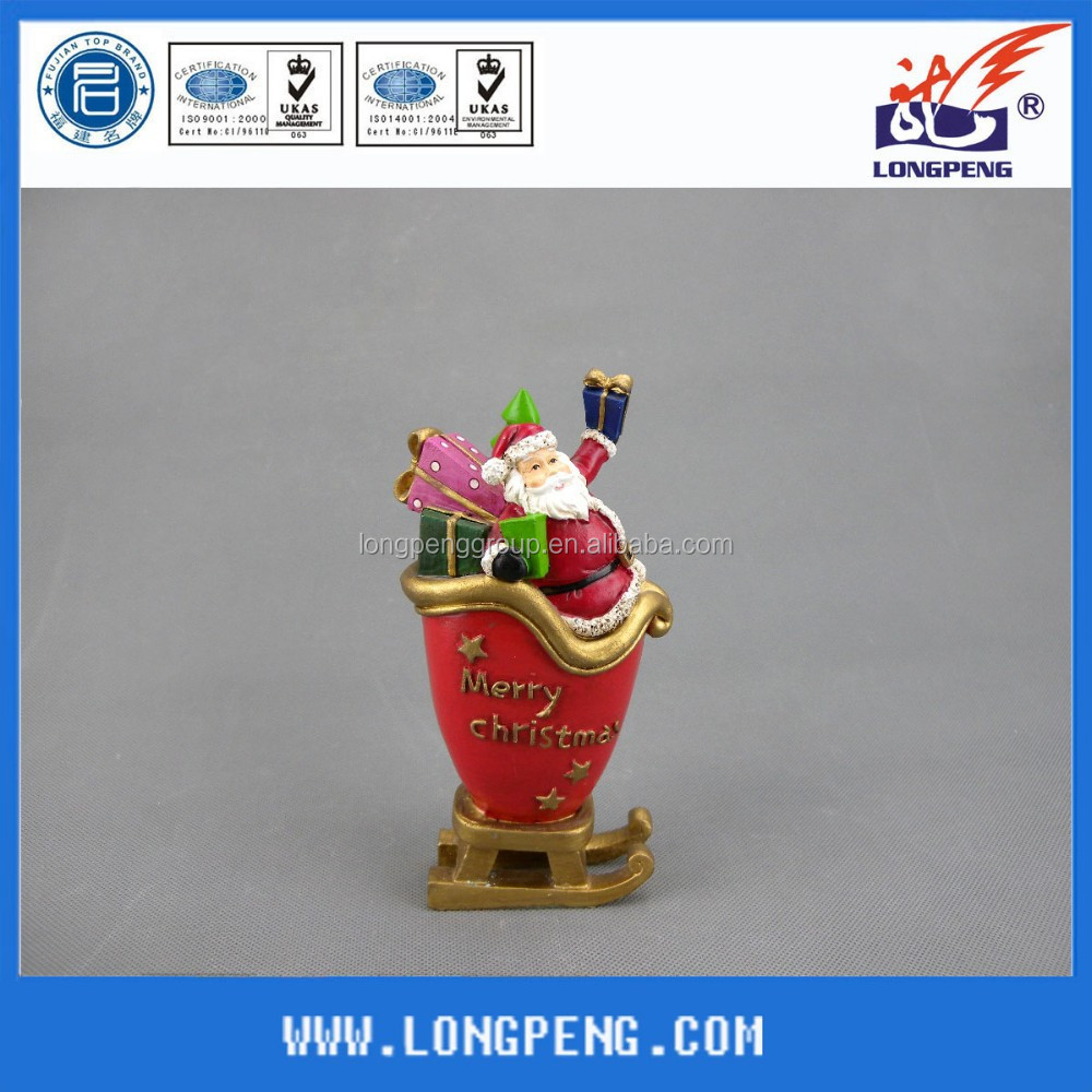 Hot Sales Resin Merry Christmas Sleigh with Santa Figurine,Christmas Santa Claus with Holiday Souvenir