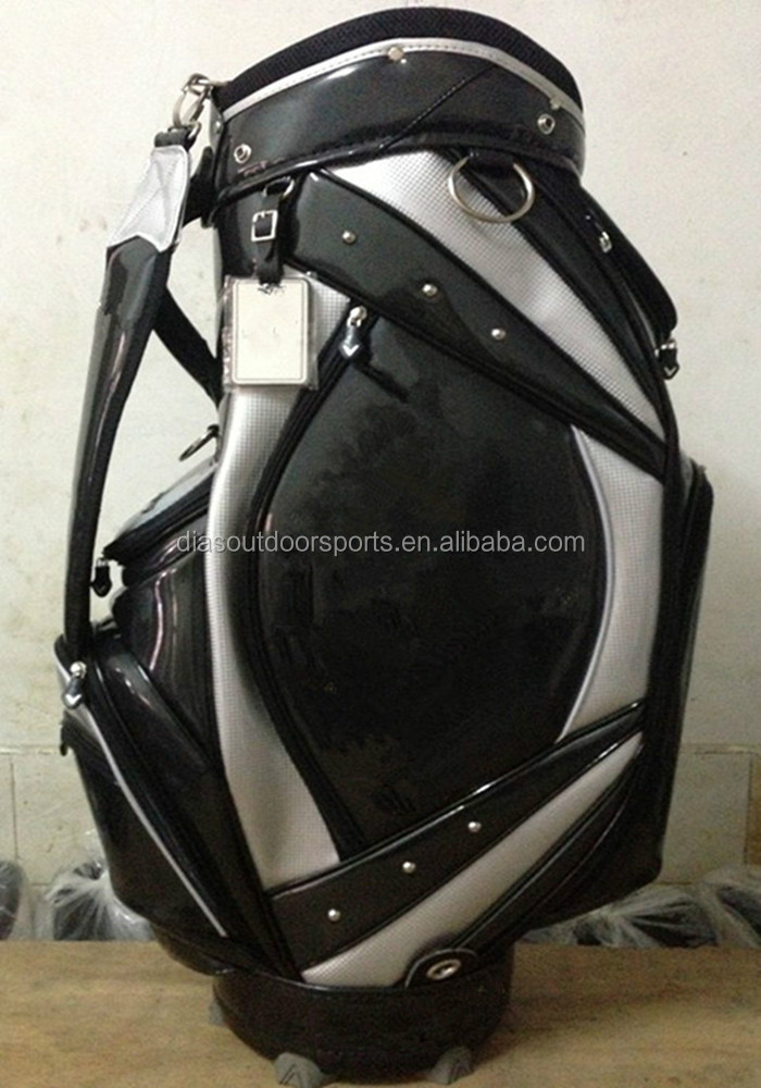 Pu leather tour staff golf bags with rain hood