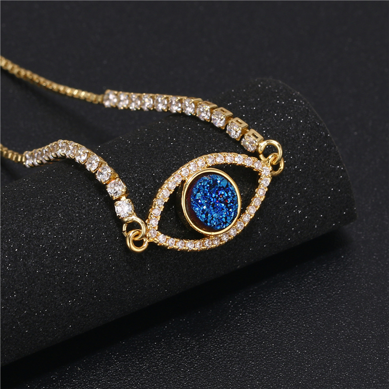 gold plated cz micro pave costume natural crystal quartz druzy evil eyes chars brass bangle bracelet jewellery findings