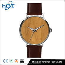 Casual timepiece japan movt quartz watch stainless steel back wood dial watch