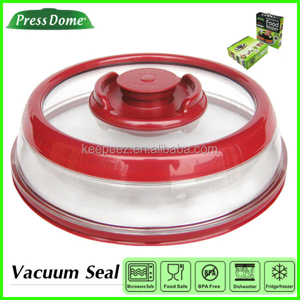 PressDome 10inch Jumbo instant vacuum sealed red plastic plate covers