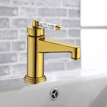 Luxury Marble Handle Gold Finish Brass Tap for 5 Star Hotel Restroom
