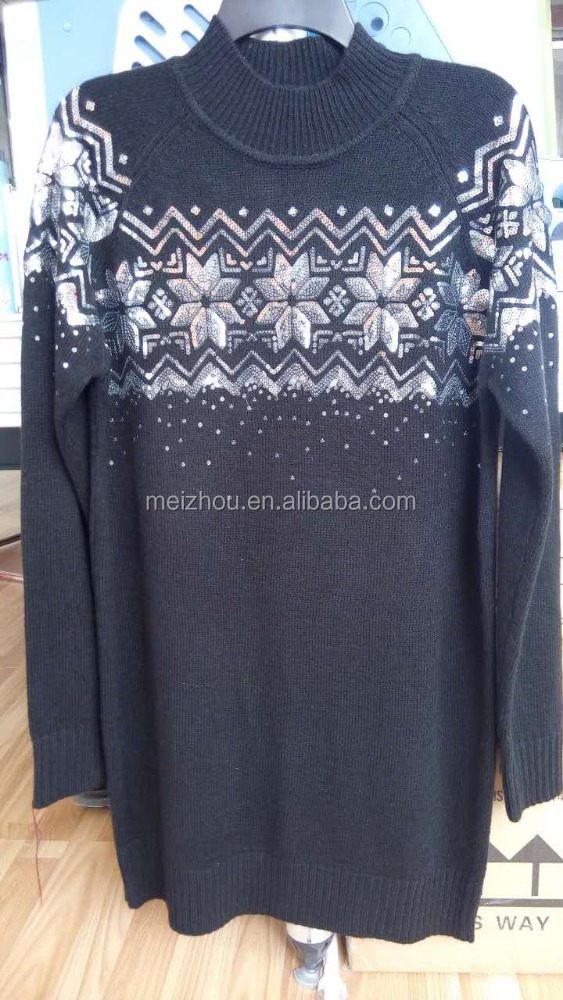 ladies' long sweater with sequin embroidery (LS024)