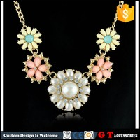 2015 New Arrive Latest Design Pearl Necklace For Women, Flower Necklace Resin