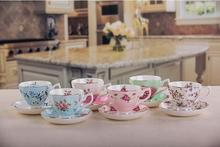 2017 New design Premum Bone China Rose Chintz 8-Ounce Porcelain Tea Cup and Saucer sets with spoon