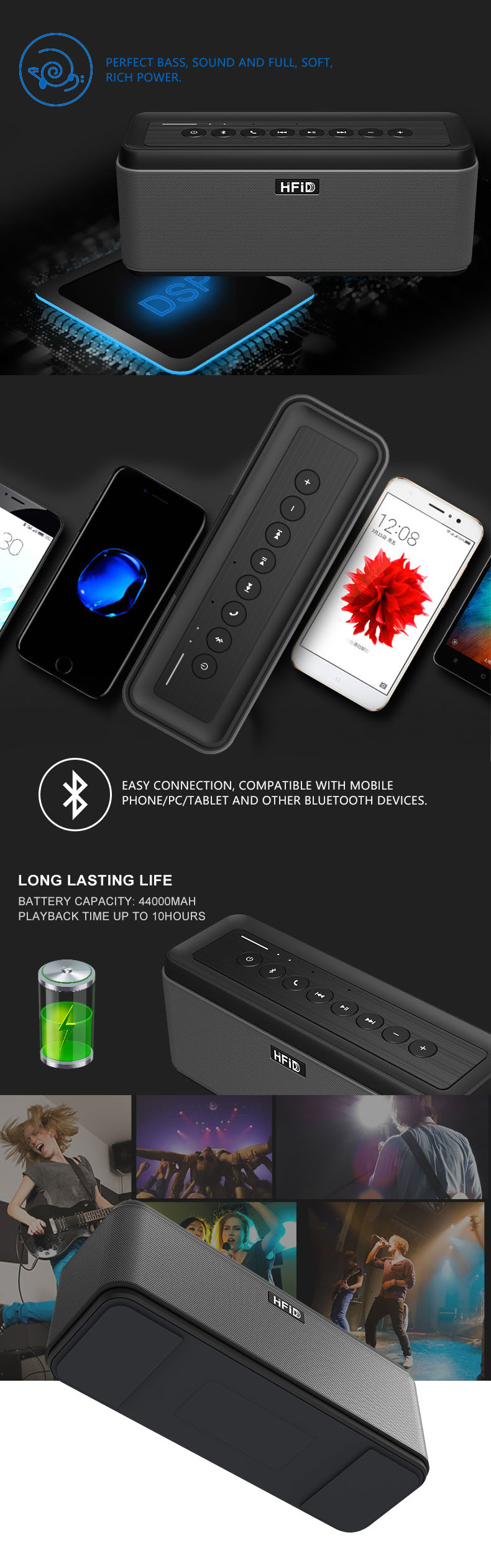 Booming Hot Selling Stereo Portable Mini Wireless Bluetooth Speaker