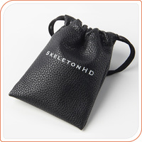 Fashion Cheap Small Leather PU Drawstring Bag with custom logo