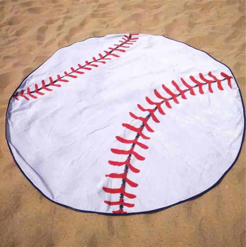 DEMI Wholesale monogram baseball microfiber fabric round beach towels