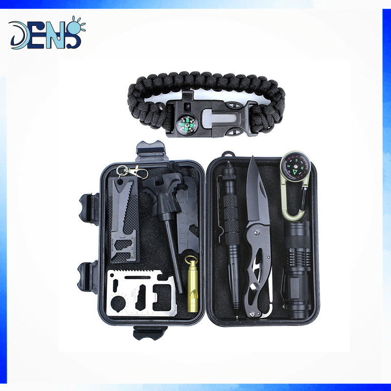 Professional Outdoor Emergency Survival Tools Set Emergency Survival Kit with Survival Bracelet For Camping Hiking