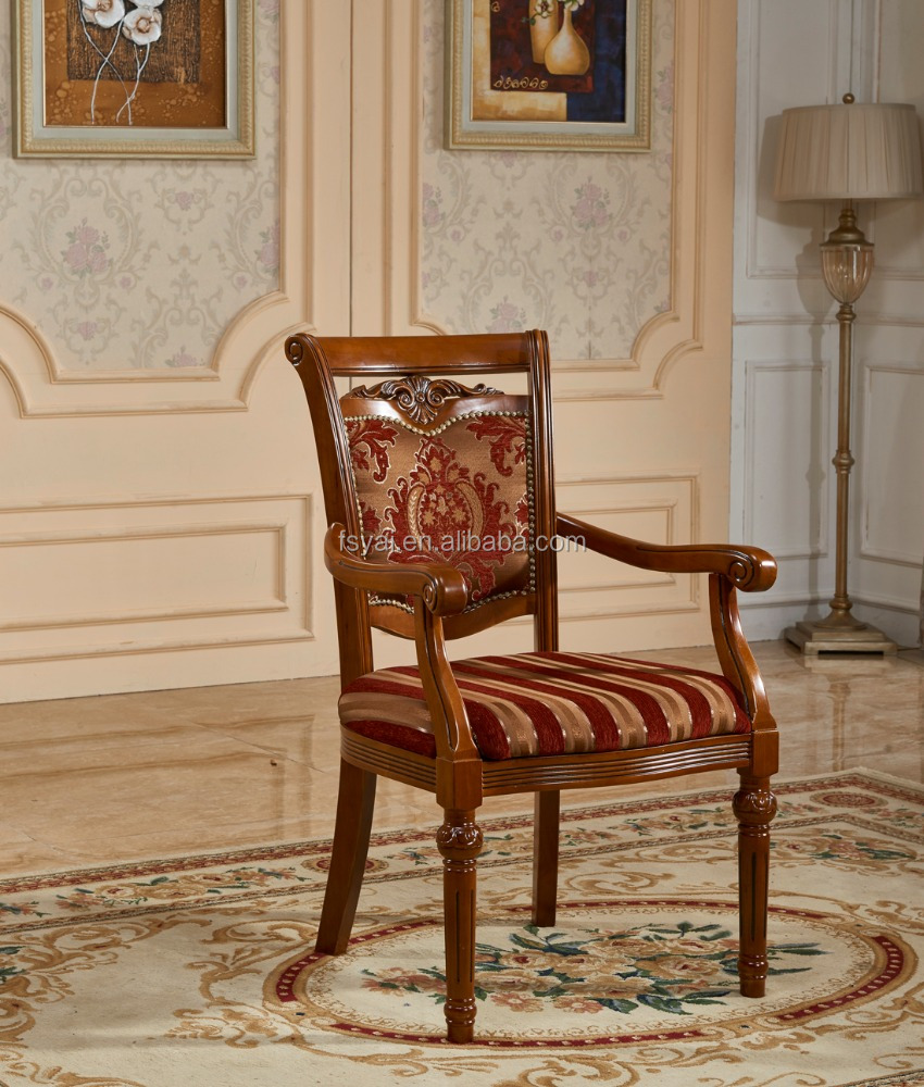 solid oak wood carved dining fabric seat antique colorful hand shaped wooden chairs with arms in living room wood chairs