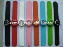 promotional product item New fashion slap/snap silicone rubber bracelets watches