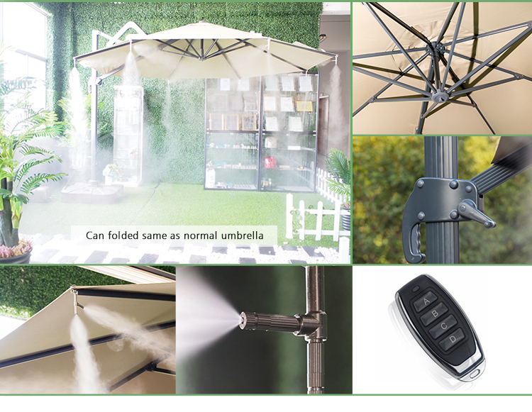 2019 Originality Spray cooling beach umbrella Courtyard, hotel, Villa use water fog mist machine garden outdoor parasols