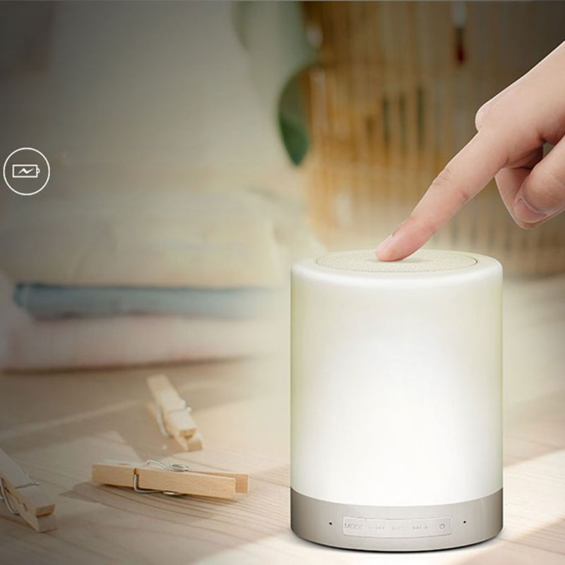 Bluetooth Speaker Lamp Bedside Wireless Touch Dimmable Table Night light TF Card AUX Supported Hands-free Speakerphone