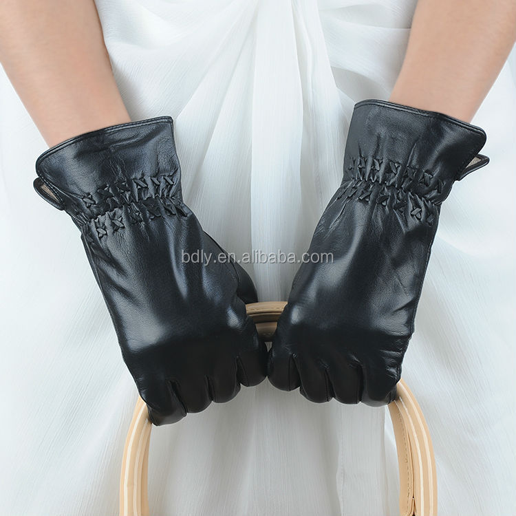 textiles and leather products women fashion sheep skin leather gloves