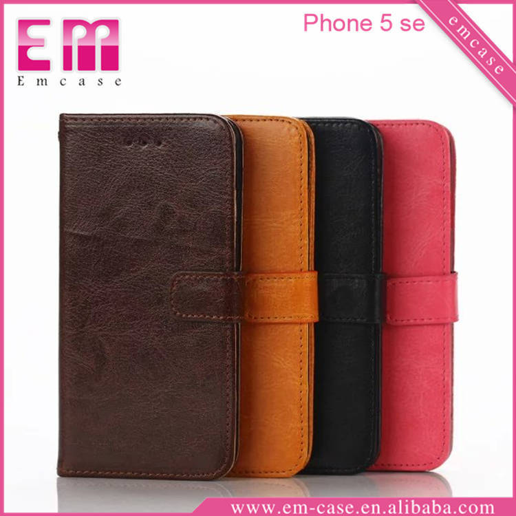 For iPhone 5 Magnetic leather case for iPhone SE / Flip leather wallet for iPhone SE case