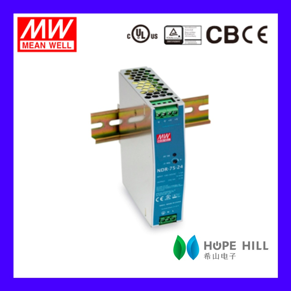 Original MeanWell 75W Industrial DIN RAIL Power Supply 12V 6.3A SMPS NDR-75-12 Slim and Economical