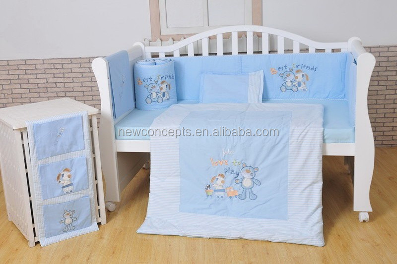 Embroidery baby cot bedding set baby bedding 100% cotton Happy Bear