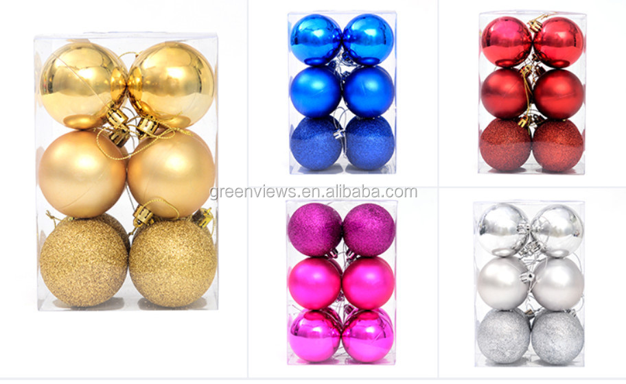 Christmas Decoration 8cm plastic xmas ball glass ornaments balls colourful christmas ball