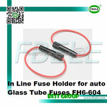 In Line Fuse Holder for auto Glass Tube Fuses FH6-604