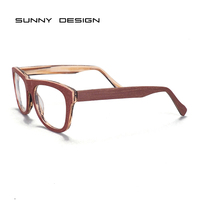 new New high quality and cheaper acetate eyeglasses frames wood like optical frame for men and ladies 8992