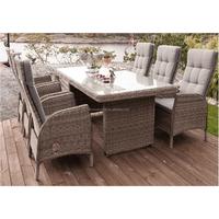 Outdoor/Garden Furniture Deluxe Round Rattan Dining Set of 7