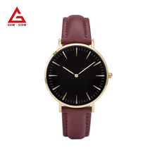 Women Fashion Watch Gold Wristwatch Leather Casual Personalized Leather Geneva Watch