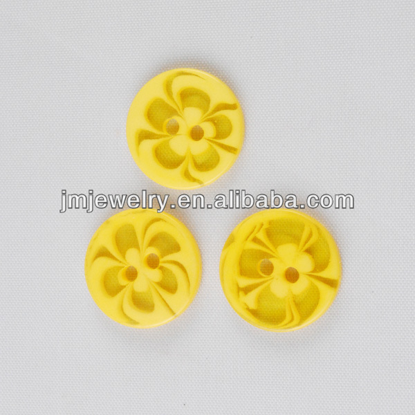 Yellow color for DIY craft button accessory for jewelry making