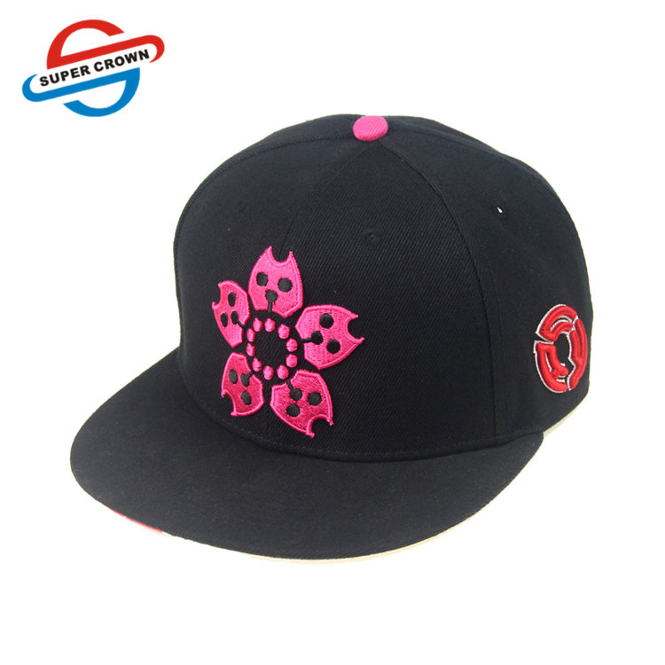 SUPER CROWN Guangzhou Factory Fuchsia Pentagon Flower Pattern 3D Embroidery Snapback Cap