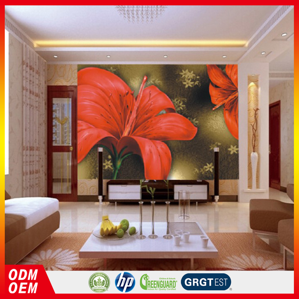 High Quality 3D red Peony Wall Paper Digital Wallpaper Printing for Home&Office on Sale