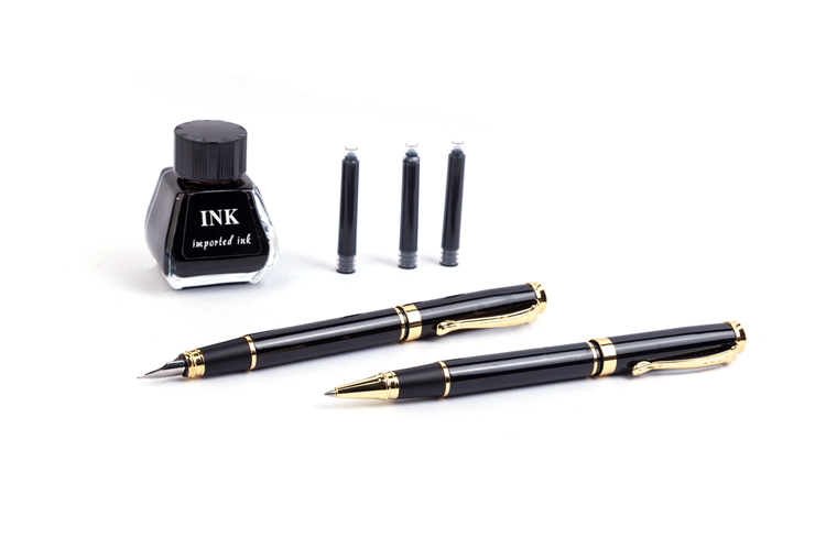 Wholesale Office Stationery Black Exquisite Corporate Gift Fountain Pen Gift Set With Ink