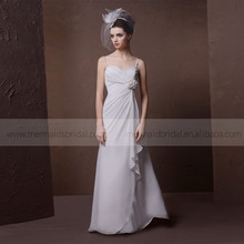 Beautiful Pleated Beads Heart Line Mermaid Lace Applique Satin Wedding Dress