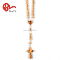 European rosary fashion free wooden cross necklace