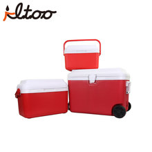 One set portable cooler box with wheels and trolley