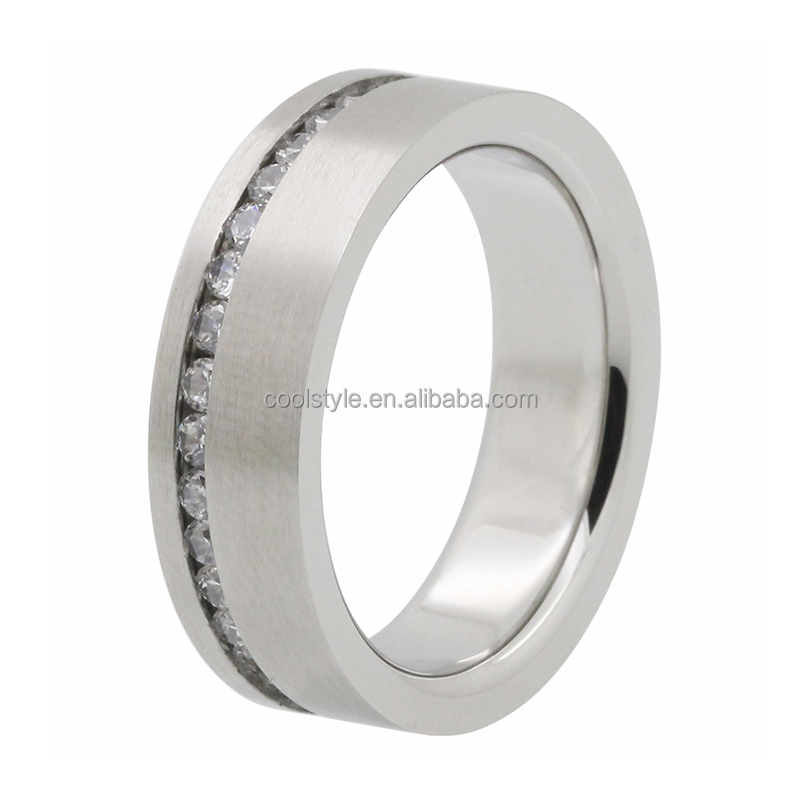 Titanium rings blanks in stainless steel jewelry with CZ crystal mens wedding bands