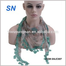 New style inventory scarf factory china triangle scarf with lace trim