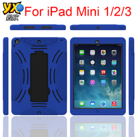 Rugged Hard PC+Soft Silicone Case For iPad mini 1/2/3, for iPad min 1/2/3 Armor Case with Kicktand
