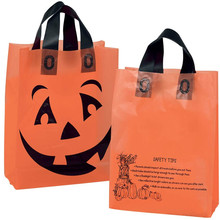 frosted orange pumpkin trick or treat bag flexi loop handle plastic bag for gift