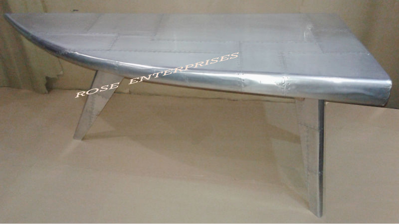 Aviator Furniture, Folding Three Stand Aeroplane Desk, Aviator Silver Writing Table