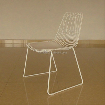 PU seat modern anti-rust tubular chair outdoor garden metal stacking wire chair