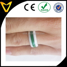 Green ring designs,white ceramic band with green silicone inlay men ring deisngs,new design ring pictures for men