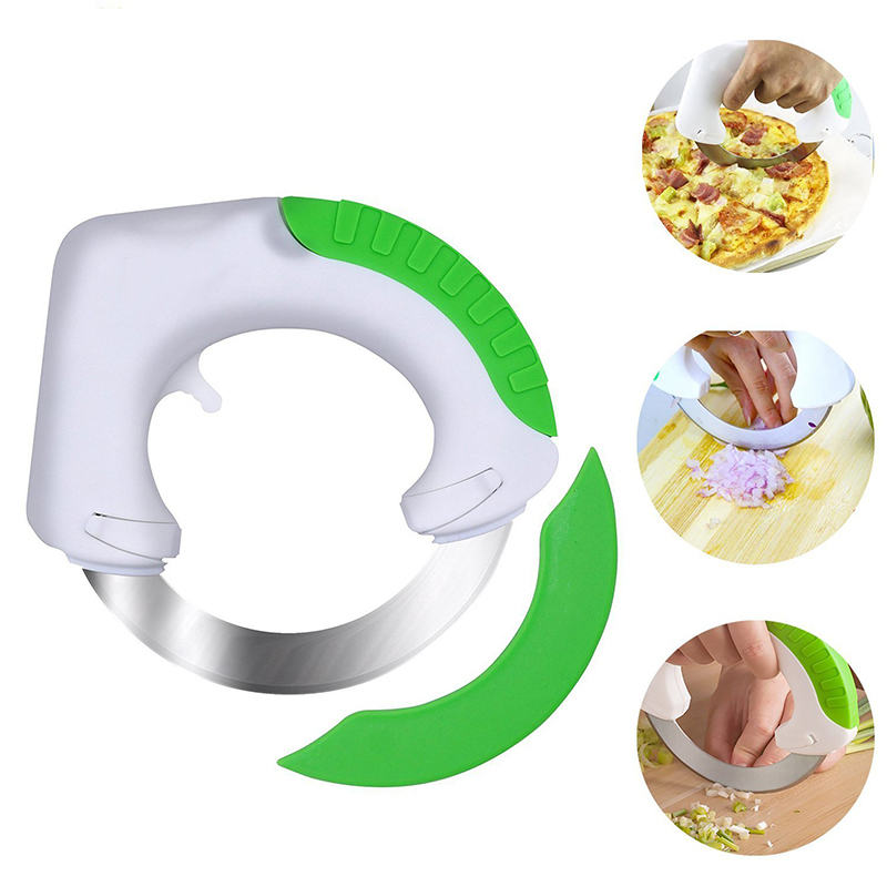 Factory wholesale cheap Fashion Design Kitchen Multi-purpose Circular Rolling Knife For meat pizza pastry herbs