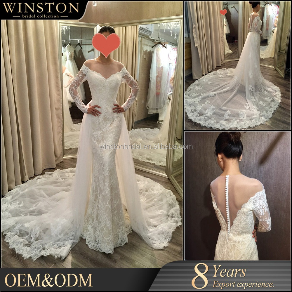 2016 New Design Custom Made muslin wedding dress