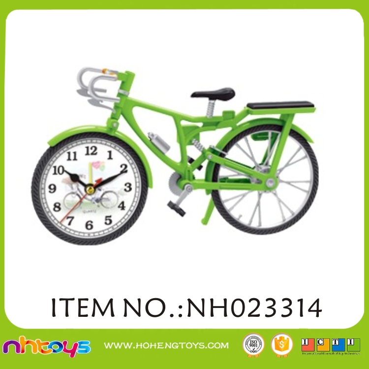hot sale plastic bike shaped alarm clock for children and adult