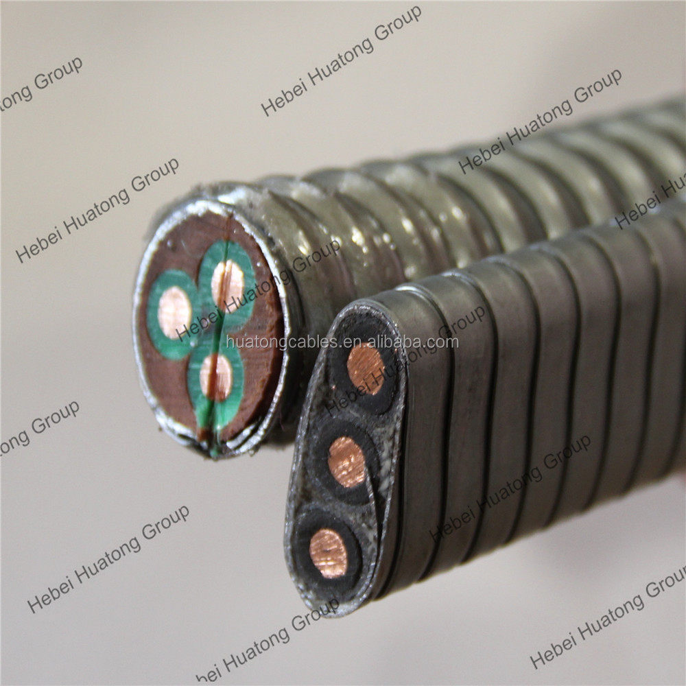 QYEEF10 3KV/5KV 2AWG 4 AWG esp power cable submersible oil pump steel tape armored ESP cable