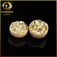 China factory 8.0mm round gold color wholesale druzy geodes