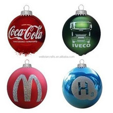 2015 wholesale plastic glass custom silkscreen pattern logo printable Christmas ball